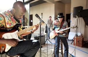 Carlos Santana and Wyclef Jean (Photo courtesy: Bang & Olufsen)