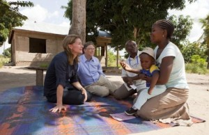 Bill and Melinda Gates meet a mother and child in Mapinga, Tanzania. (PRNewsFoto/Bill & Melinda Gates Foundation)