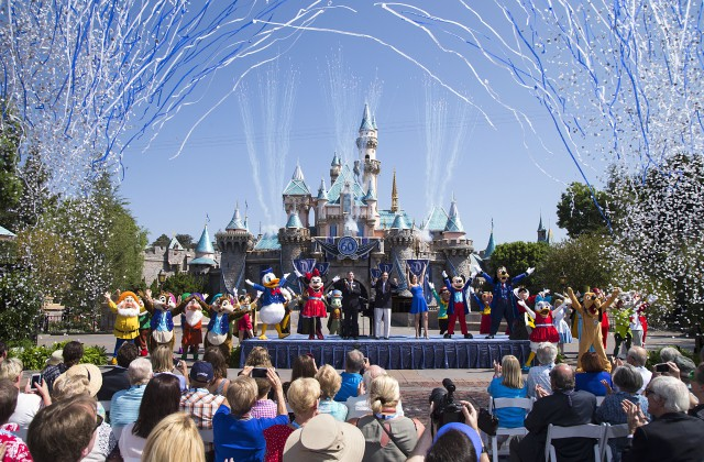 """DAZZLING DAY (July 17, 2015) - Mickey Mouse and his friends celebrate the 60th anniversary of Disneyland park during a ceremony at Sleeping Beauty Castle featuring Academy Award-winning composer, Richard Sherman and Broadway actress and singer Ashley Brown, in Anaheim, Calif. on Friday, July 17. Celebrating six decades of magic, the Disneyland Resort Diamond Celebration features three new nighttime spectaculars that immerse guests in the worlds of Disney stories like never before with """"Paint the Night,"""" the first all-LED parade at the resort; """"Disneyland Forever,"""" a reinvention of classic fireworks that adds projections to pyrotechnics to transform the park experience; and a moving new version of """"World of Color"""" that celebrates Walt DisneyÕs dream for Disneyland. (Paul Hiffmeyer/Disneyland Resort)"""