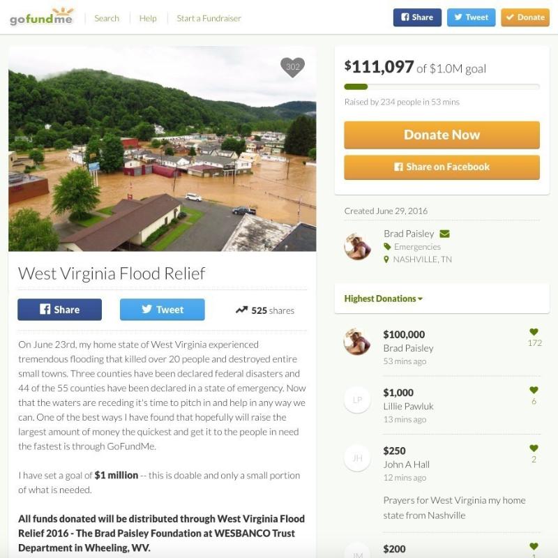 Country Superstar Brad Paisley Raises Money for West Virginia Flood Victims with GoFundMe Campaign, Makes $100,000 Donation (PRNewsFoto/GoFundMe)