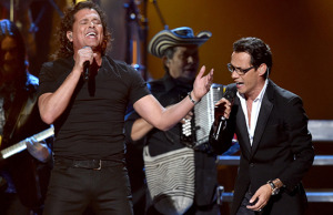Carlos Vives and Marc Anthony perform on stage at the 15th Annual Latin Grammy (Photo courtesy Sony Music)