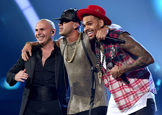 Pitbull and Chris Brown on stage at the 15th Annual Latin Grammy (Photo courtesy Sony Music)