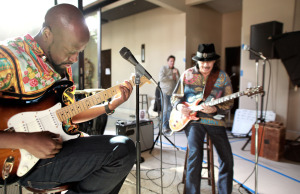 Carlos Santana and Wyclef Jean (Photo courtesy: Bang & Olufsen)