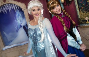 """New """"Frozen Fun"""" at Disneyland Resort (January 7, 2015) - The Disneyland Resort introduces spectacular new """"Frozen Fun"""" on Jan. 7, 2015, featuring magical adventures with characters from the Walt Disney Pictures blockbuster film. For the first time in forever - and for a limited time - the live """"Frozen"""" experiences will invite guests to """"chill"""" at Disney California Adventure Park. Guests will meet Anna and Elsa in an elegant, new location, sing along with the """"Frozen"""" soundtrack in the Crown Jewel Theatre, play in the snow and get a hug from Olaf the snowman . (Disneyland Resort) (PRNewsFoto/Disneyland Resort)"""