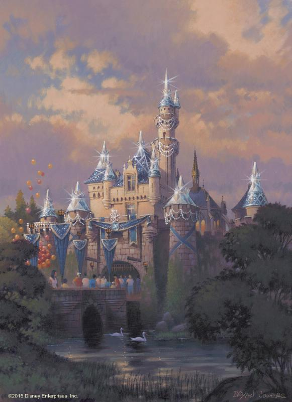 SPARKLING BEAUTY - This artist's rendering shows Sleeping Beauty Castle at Disneyland park draped in dazzling diamonds to commemorate the upcoming Diamond Celebration at the Disneyland Resort. From Sleeping Beauty Castle to Carthay Circle Theatre at Disney California Adventure park, the Disneyland Resort and surrounding streets of the Anaheim Resort district will sparkle with Diamond Celebration decor and festive banners in shades of Disneyland blue. (PRNewsFoto/Disneyland Resort)