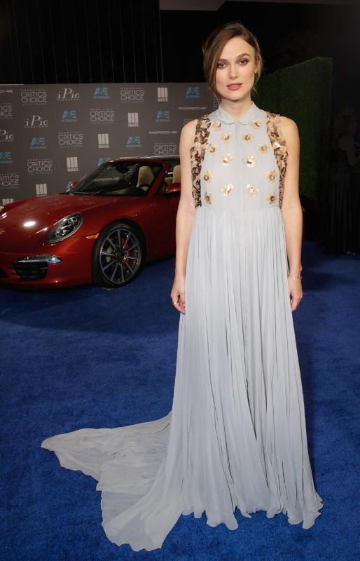Keira Knightley arrives as Porsche celebrates the 20th Annual Critics' Choice Movie Awards at the Hollywood Palladium on Thursday, Jan.15, 2015, in Hollywood, Calif. (Photo by Todd Williamson/Invision for Porsche/AP Images) (PRNewsFoto/Porsche Cars North America, Inc.)