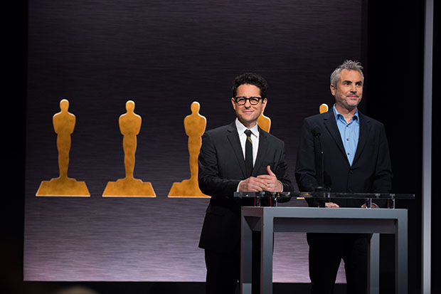 Directors J.J. Abrams (left) and Alfonso Cuarón announced the nominees for the 87th Annual Academy Awards in the Academy's Samuel Goldwyn Theater.