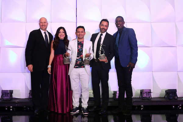 SESAC Latina Song of The Year - (L-R) SESAC's Sam Kling, Celeste Zendejas, La Industria's David Daza, Sony/ATV Sounds' Jorge Mejia (Photo 2016 © SESAC Latina)