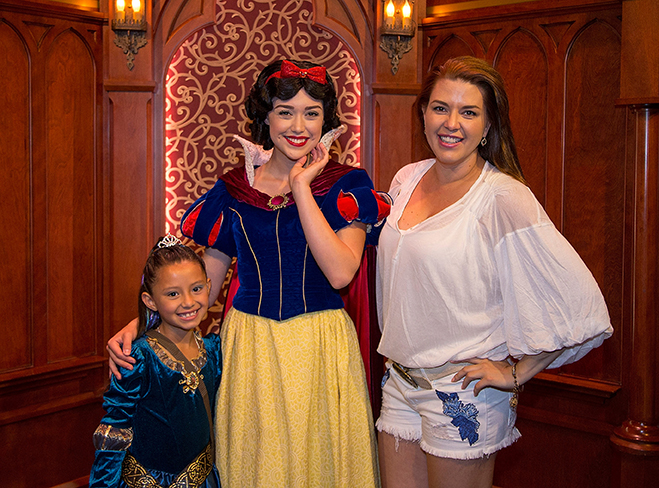 ALICIA MACHADO VISITS DISNEYLAND PARK – Actress Alicia Machado and daughter Dinorah Valentina Hernandez celebrate in true princess style on Friday, June 24, 2016. (Paul Hiffmeyer/Disneyland Resort)